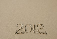 2012 Inscription On The Sand Royalty Free Stock Images