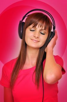 Free Girl With Headphone Royalty Free Stock Images - 22335689