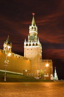 Kremlin Clock Tower At Night, Moscow Stock Image