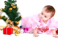 Free Small Santa Claus With Gift On A White Background Stock Images - 22342314