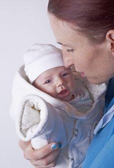 Newborn Baby Closeup Smiling Stock Image