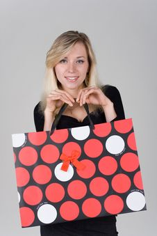 Free Young Girl With Shopping Bag Royalty Free Stock Photos - 22343958