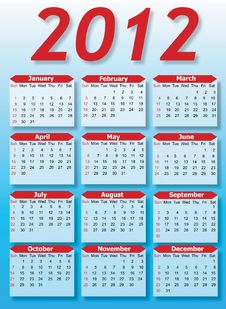 2012 Vector Calendar Stock Photo