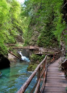 Free Vintgar Gorge And Wooden Path At Bled Stock Photography - 22344582