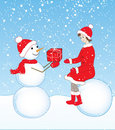 Free Snowman And Girl Royalty Free Stock Photography - 22356257