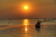 Free Boat And Sea Landscape At Sunset Time Royalty Free Stock Photos - 22353818