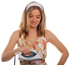 Free Happy Housewife Ironing Royalty Free Stock Photos - 22354268