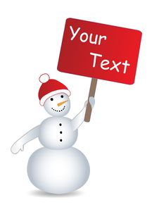Snowman With Billboard And Place For Text Royalty Free Stock Images