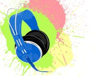 Free Blue Headphones Royalty Free Stock Image - 22357296
