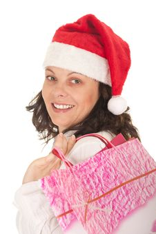 Free Happy Christmas Girl Holding Gift With Royalty Free Stock Photos - 22357308