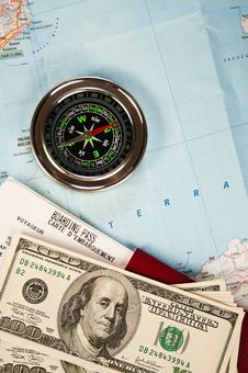 Free Compass, Money And Passport Stock Photography - 22357352