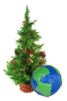 Free Christmas Tree And A Globe Stock Photos - 22357403
