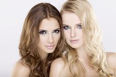 Free Two  Girl Friends - Blond And Brunette Royalty Free Stock Photos - 22357418