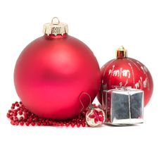 Three Christmas Balls With Red Beads Stock Photography