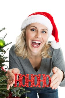 Free Cheery Woman With Christmas Ornament Royalty Free Stock Photography - 22360537