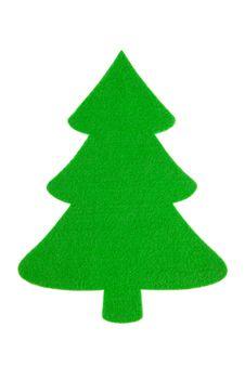 Free Green Felt Christmas Tree Cutout Isolated On White Stock Photos - 22360673