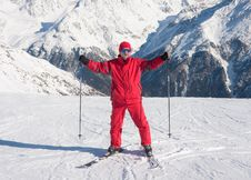Skier And Mountains Stock Images
