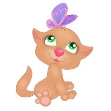 Free Red Kitten With Butterfly Stock Image - 22366771