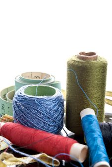 Free Many Bobbin Of Thread With Needle And Buttons Stock Photography - 22371552