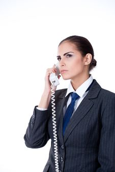 Free Concentrated Businesswoman Talking On Phone Stock Photography - 22372402