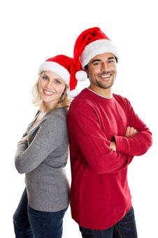 Free Christmas Couple Isolated On White Royalty Free Stock Images - 22379379