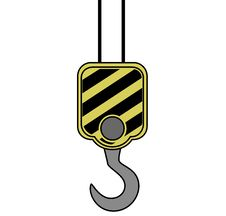 Yellow Crane Hook Stock Image