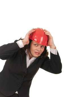 Free Business Woman With Red Helmet Stock Photo - 22381370