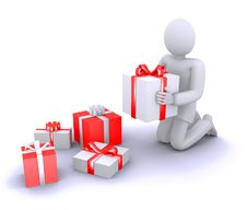 Free 3d Human Opening Gifts Stock Photography - 22389522