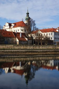 Free Brevnov Monastery Reflecting In Water Royalty Free Stock Images - 22390079