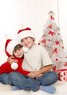 Free Brother And Sister Near A Christmas Tree Royalty Free Stock Images - 22391139