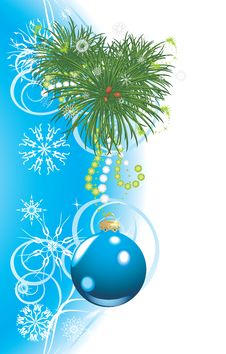 Christmas Tree With Blue Ball And Snowflakes Royalty Free Stock Photo