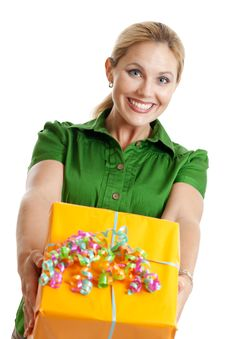 Free Woman With A Gift Stock Image - 22393801