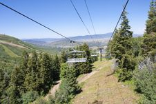 Gondola Chairlift At A Mountain Ski Resort Royalty Free Stock Image