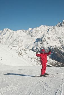 Skier And Mountains Royalty Free Stock Images