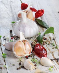 Garlic And Peppers Stock Images