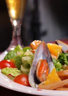 Warm Salad From Seafood Stock Photo