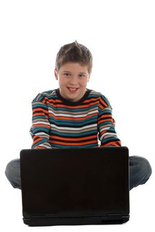 Free Boy Sitting With A Laptop Computer Royalty Free Stock Images - 22399299