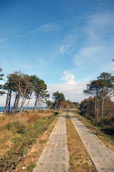 Empty Path At Sea. Royalty Free Stock Photo