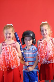 Free Baseball Boy & Cheerleaders Ve Royalty Free Stock Photos - 2249818