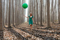 Free Blonde Girl With Balloon In A Poplar Forest Royalty Free Stock Photos - 22402508