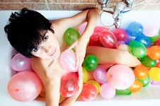 Free Woman Playing With Balloons Royalty Free Stock Image - 22402356