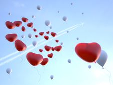 Free Soaring Balloons In Valentine S Day Stock Images - 22407854
