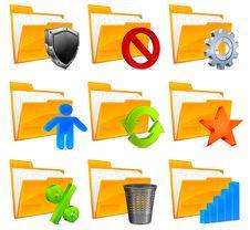 Nine Folder Icons & Symbols Royalty Free Stock Photography
