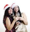 Free Two Girls In Red Hat Have Fun Royalty Free Stock Photography - 22418347