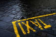 Taxi Sign On Rainy Street Stock Images
