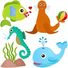Free A Colorful Set Of Sealife Royalty Free Stock Photography - 22410367