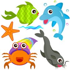 Free A Colorful Set Of Sealife Royalty Free Stock Photo - 22410405