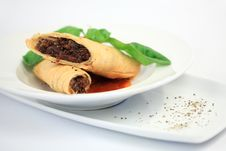 Chinese Beef Steak Rolls Royalty Free Stock Image