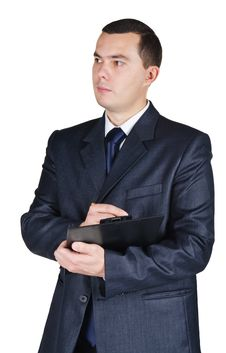 Businessman Holding A Blank Board And A Pen Stock Images