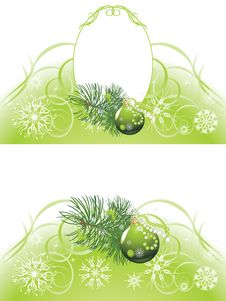 Christmas Tree With Green Ball. Two Backgrounds Stock Image